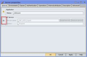 Selecting the NT Service Radio Button